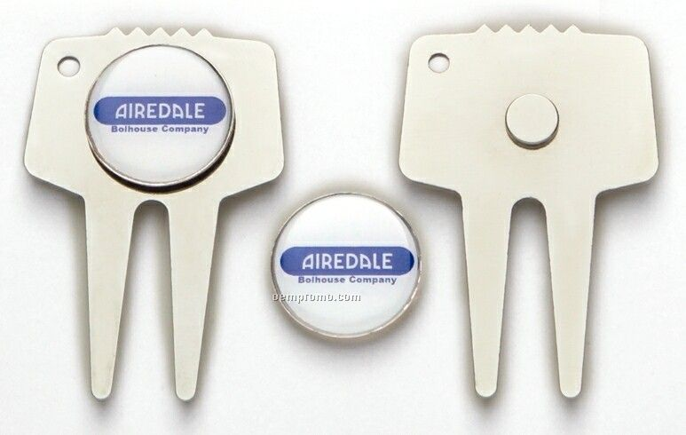 """Stamped Divot Tool In Silvertone Finish W/ 7/8"""" Screen Printed Ball Marker"""