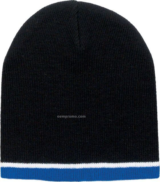Tri Color Beanie Hat W/ White Trim (Overseas 6-7 Week Delivery)
