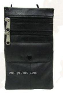 Black Napa Lambskin Super Pouch W/ Double Zipper