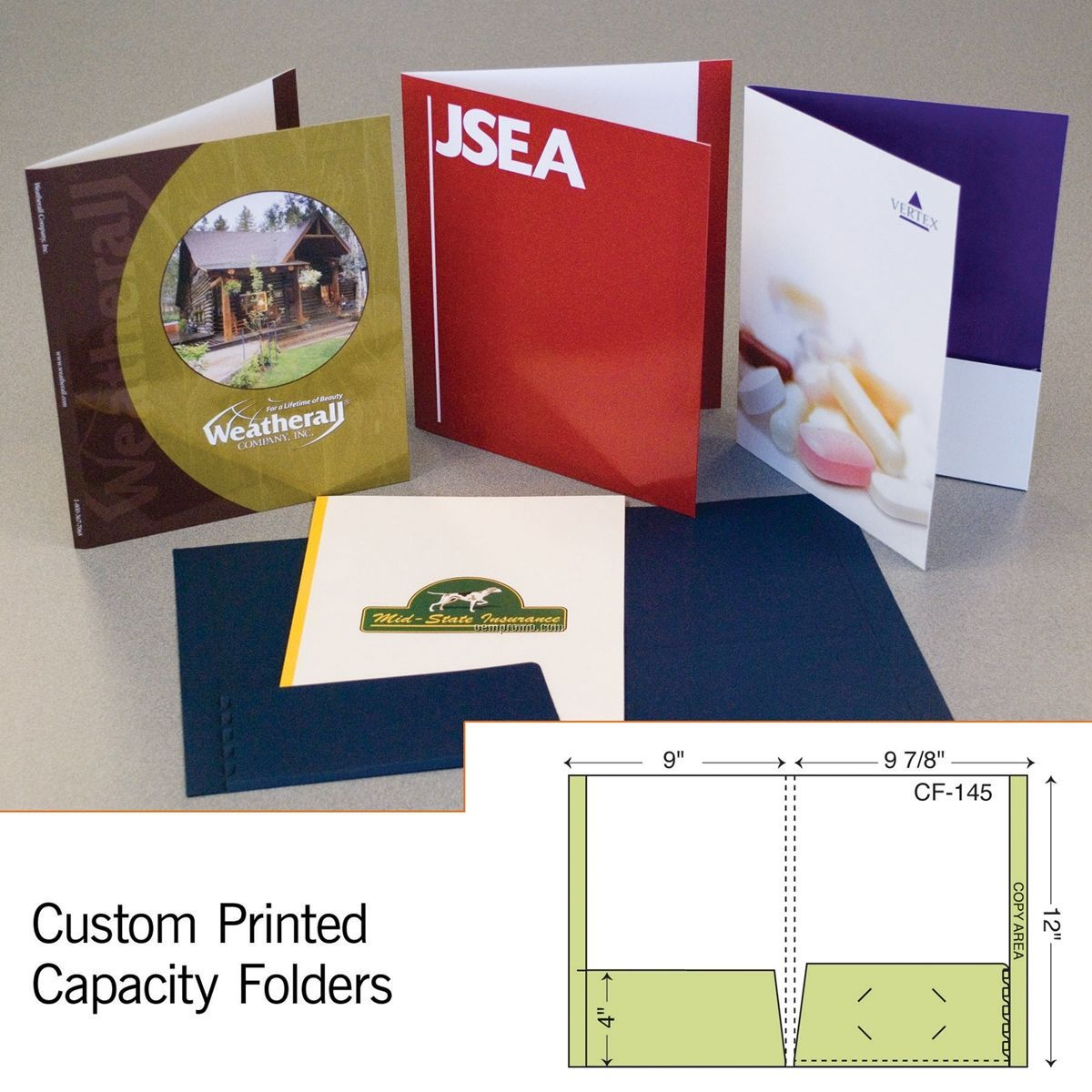 "Capacity Folder W/ Expansion Flat Pocket, Full Tab & 1/4"" Spine (1 Color)"