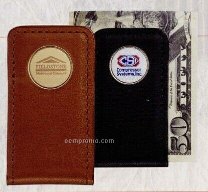 Leather Money Clip (Etched Medallion)