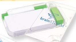 White W/ Green Trim Memo Pad Holder W/Ruler & Magnifying Glass (Printed)