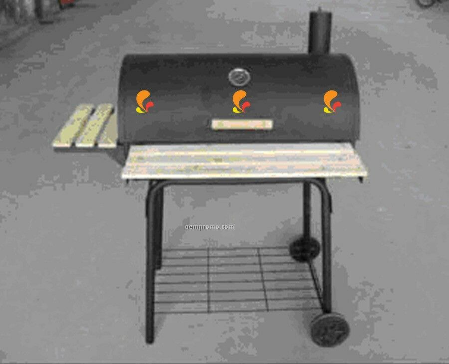Barbecue Grill - Barrel Style W/Rack On Front And Side