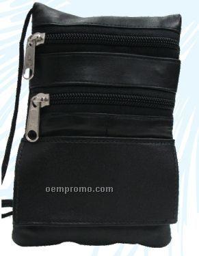 Black Lambskin Napa Mini-max Pouch W/ Front Pouch