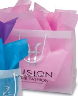 Frosted Clear Plastic Euro Tote Shopping Bag - 4 Mil (19