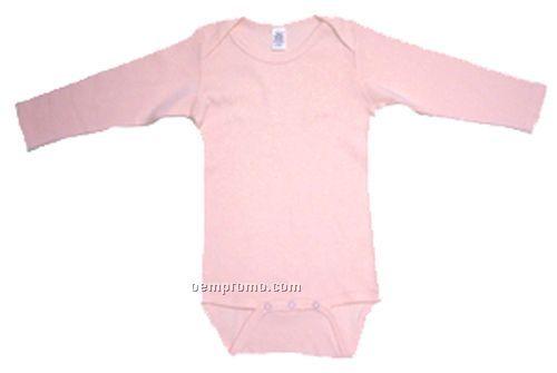 Pink Rib Knit Long Sleeve Onezie