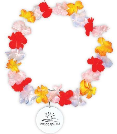 Silk Flower Leis W/Medallions