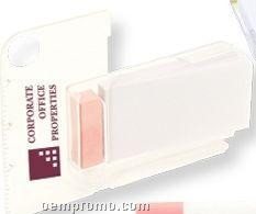 White W/ Pink Trim Memo Pad Holder W/Ruler & Magnifying Glass (Printed)