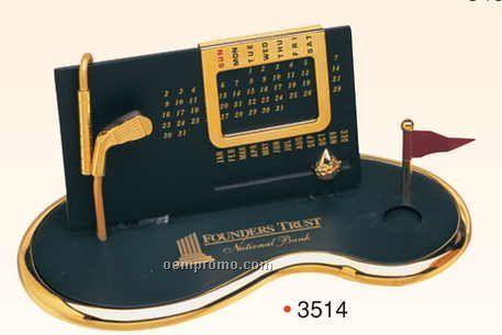 "7""X3-1/2""X3"" Gold Plated Perpetual Desk Calendar W/ Base (Screened)"