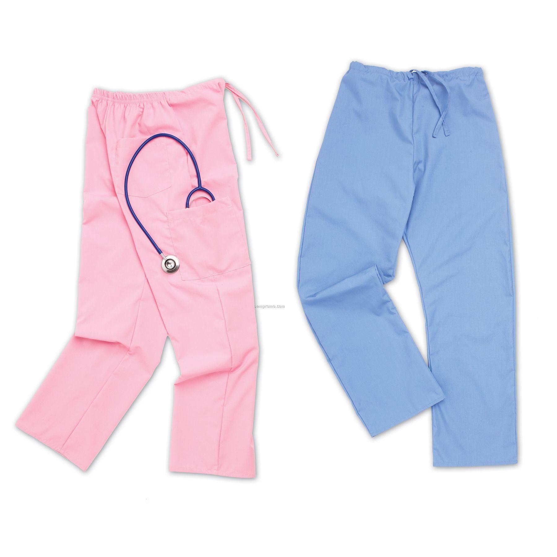 Solid Color Scrub Wear Drawstring Pants (S-xl)