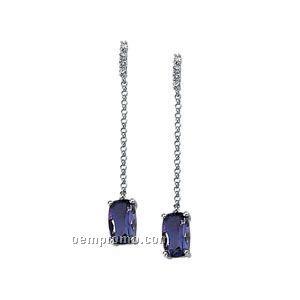 14kw Genuine Amethyst And .08 Ct Tw Diamond Earrings