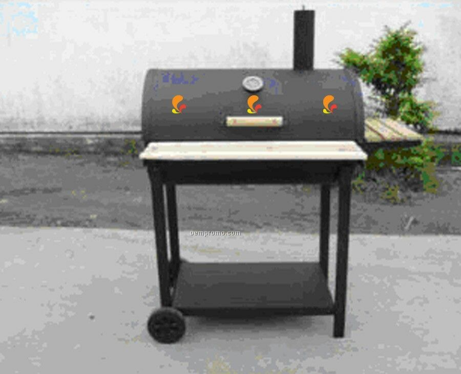 barbecue grill barrel style w front tray wood side