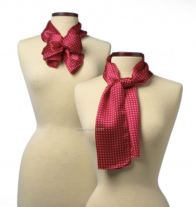 "Wolfmark Newport Silk Scarf - Red (45""X8"")"