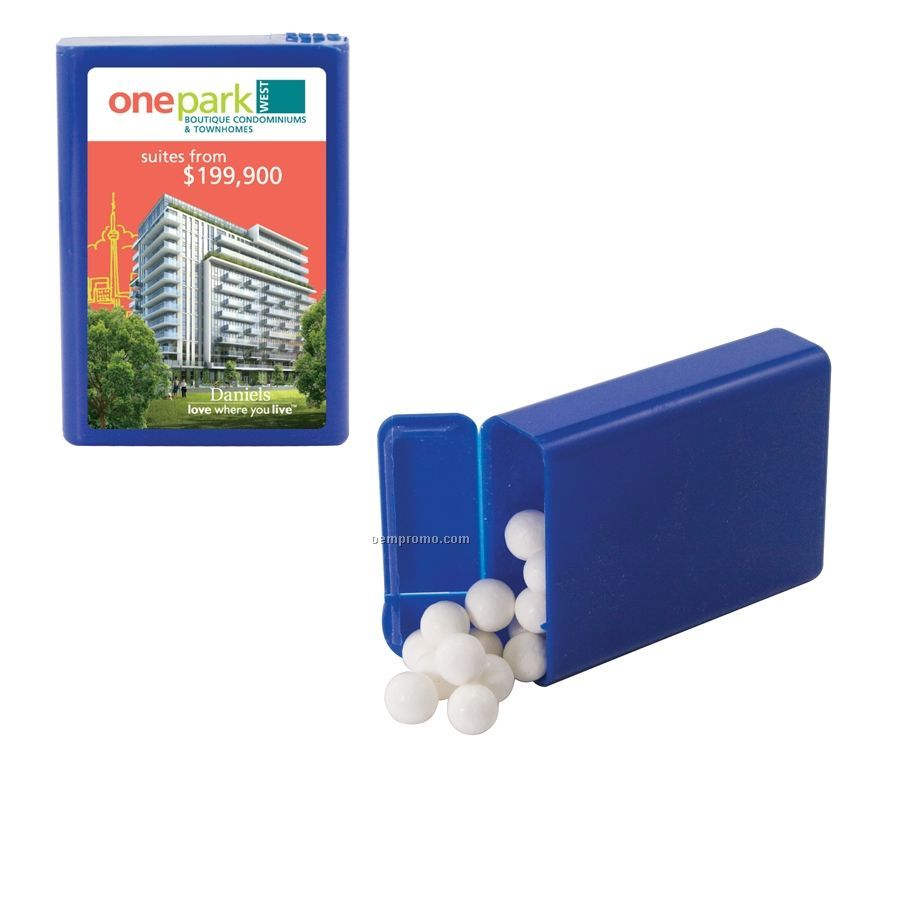 Blue Refillable Plastic Mint/ Candy Dispenser With Signature Peppermints