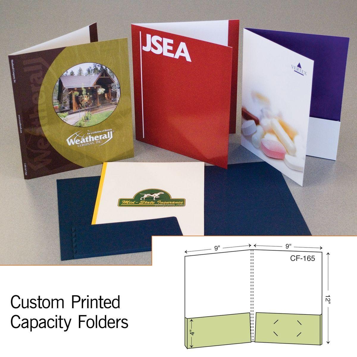 "Capacity Folder W/ Double Box Pocket & 1/2"" Spine (1 Color/1 Side)"