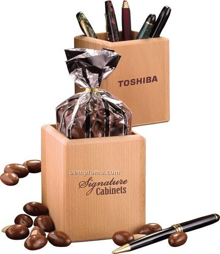 Hardwood Pen & Pencil Cup W/ Milk Chocolate Almonds