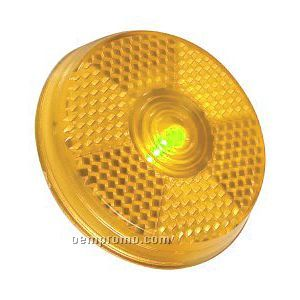 Yellow Round Light Up Reflector W/ Red LED