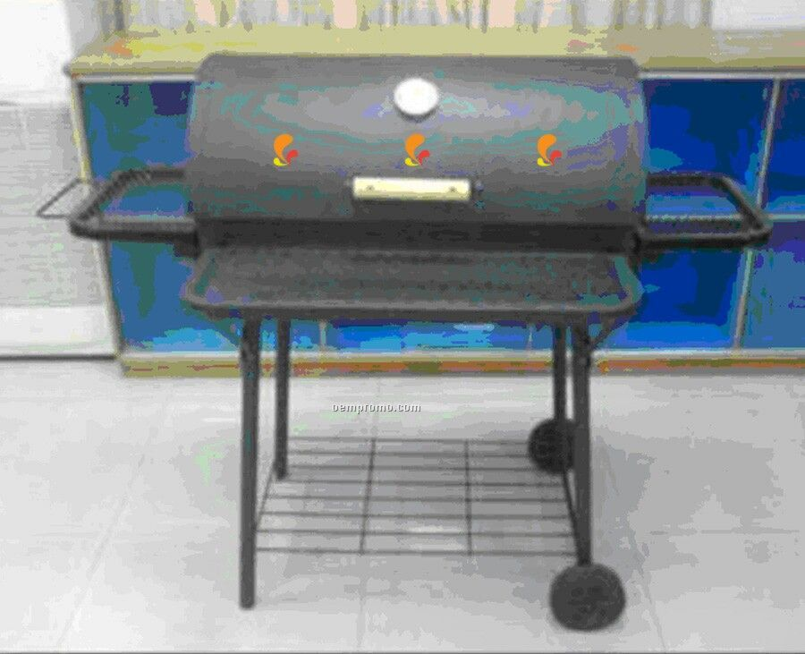 Barbecue Grill - Trays On Front & Both Sides W/Wire Rack Bottom
