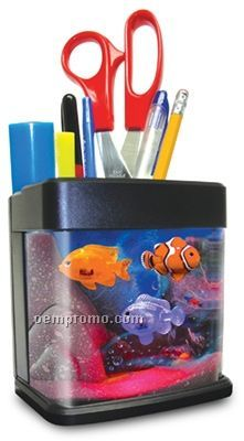 Desk Quarium Organizer W/ LED Mood Light & 4 Plastic Swimming Fish