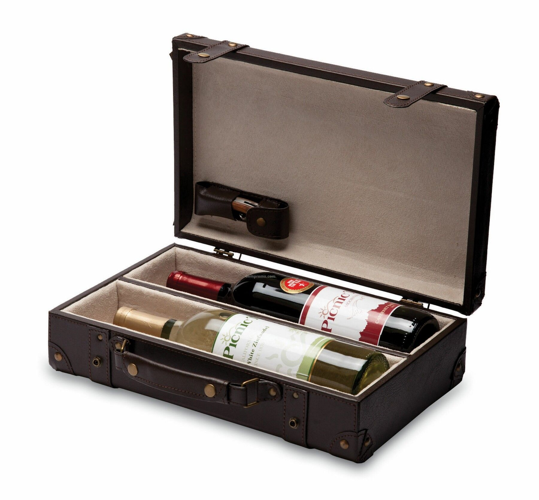 Legacy Viaggio Leatherette 2 Bottle Wine Briefcase W/ Velveteen Interior