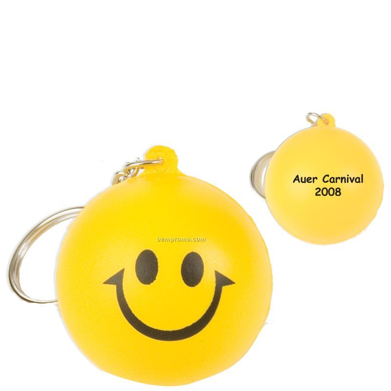 Smiley Face Squeeze Toy Key Chain
