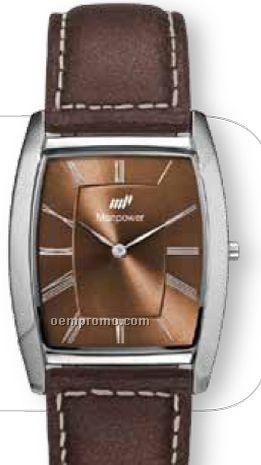 Unisex 34 Mm Solid Brass/ Slim Silver Case Watch W/ Brown Leather Straps