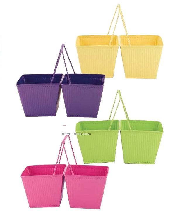 """4.5"""" Double Square Spring Metal Container (4 Pack)"""