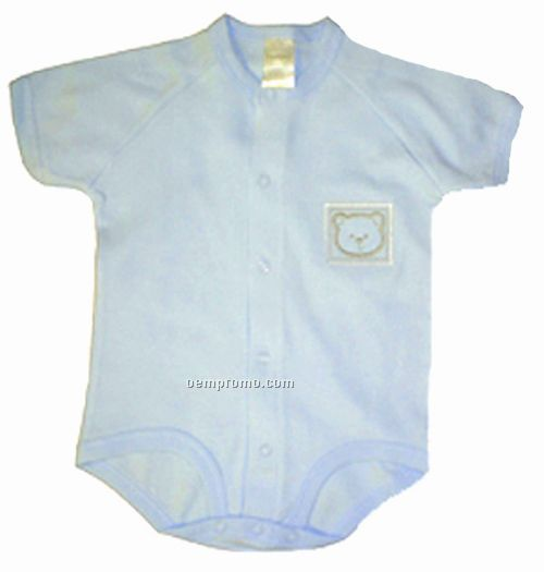 Pastel Interlock Short Sleeve Embroidered Boy's Onezie