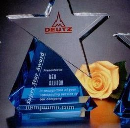"Star Gallery Crystal Azure Star Award (9 1/2"")"