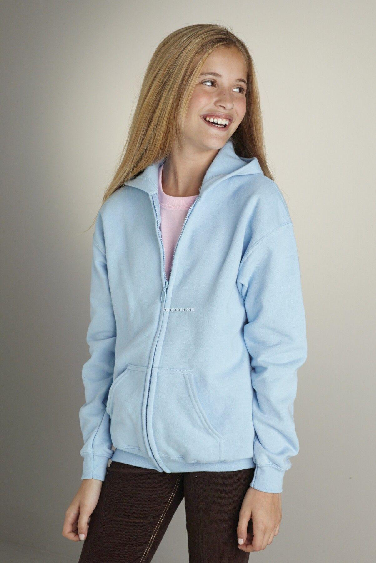 Youth Gildan Heavy Blend Full Zip Hooded Sweatshirt - Heather