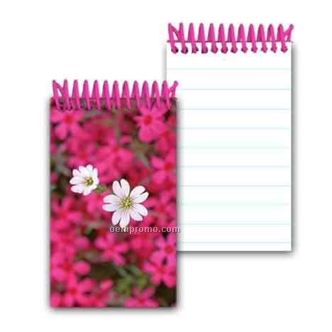 3d Lenticular Mini Notebook Stock/White And Pink Flowers (Blanks)