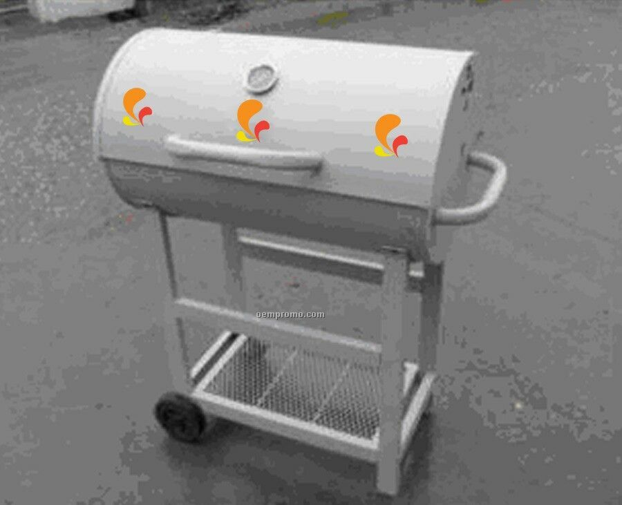 Barbecue Grill - Barrel W/Front & Side Handles & Mesh Bottom Shelf
