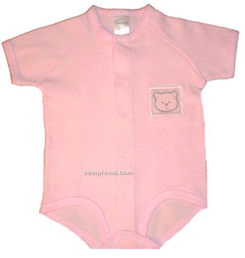 Pastel Interlock Short Sleeve Embroidered Girl's Onezie