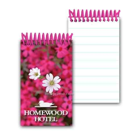 3d Lenticular Mini Notebook Stock/ White And Pink Flowers (Custom)
