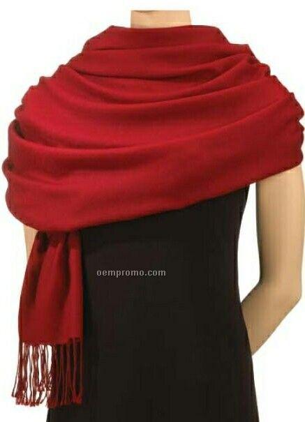 Wolfmark Red Pashmina Silk/ Wool Blend Scarf