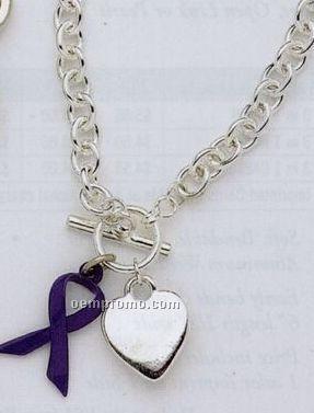 Tiffany Style Bracelet With Awareness Ribbon & Flat Heart