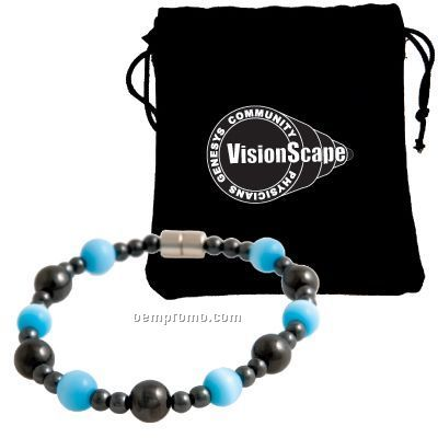 """Premium Magnetic Hematite Stretch Bracelet With Blue """"Cats Eye"""" Accents"""