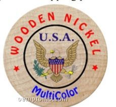 Laser Engraved Wooden Nickels - Multicolored/ Jumbo