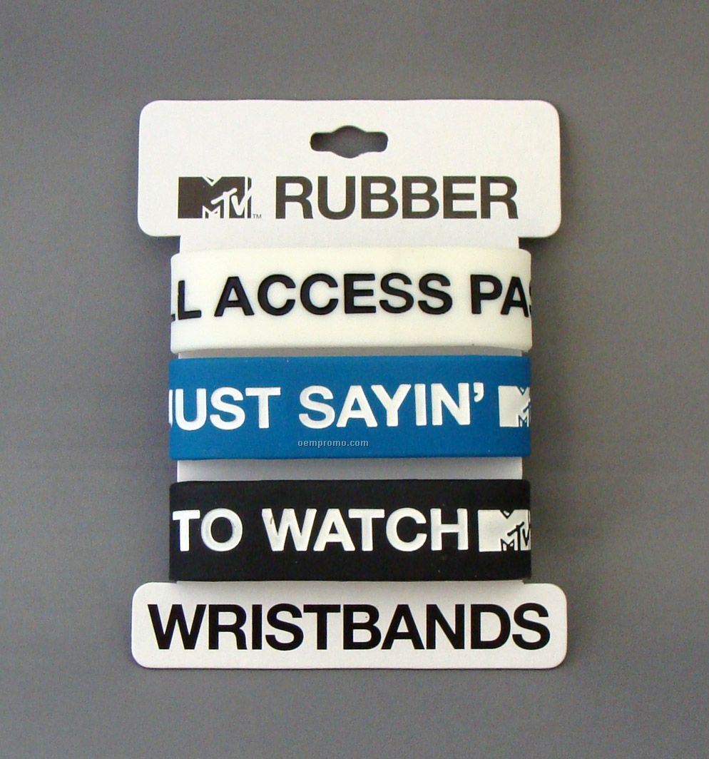 Super Wide Debossed Carded Silicone Bracelet With Colorfill