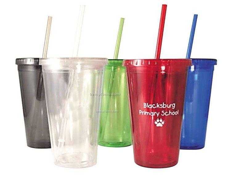 16 Oz. Acrylic Cup With Straw