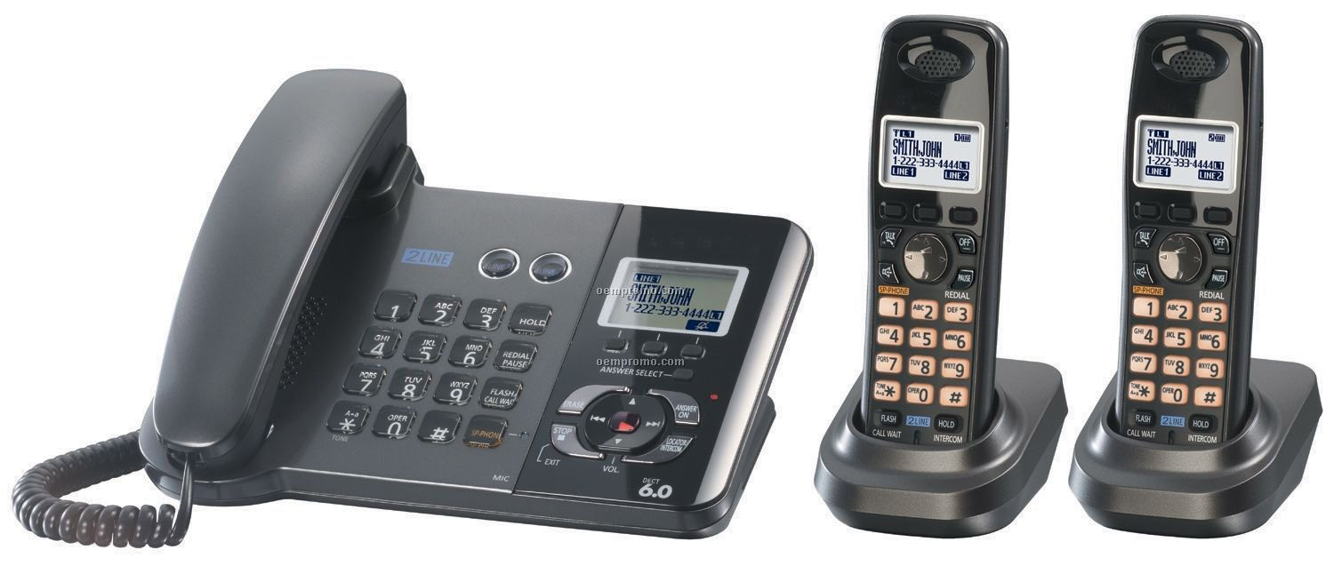 2-line Corded/ Cordless Phone Bundle W/ 2 Handsets