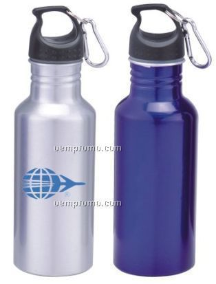 22 Oz. Aluminum Wide Mouth Bottle With Carabiner, Silver, Blue