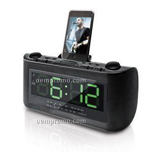 AM/FM Clock Radio With Ipod Docking Stereo Speaker System