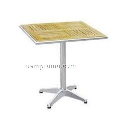 Aluminum table with wood desktop and aluminum leg