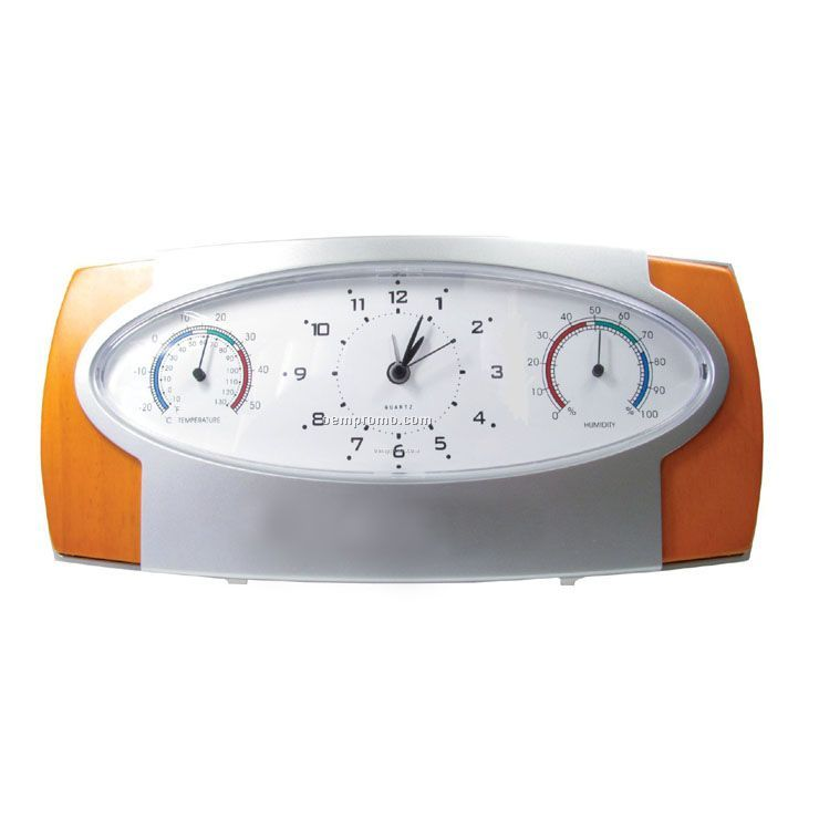 Analog Alarm Clock With Temperature And Humidity Indicator
