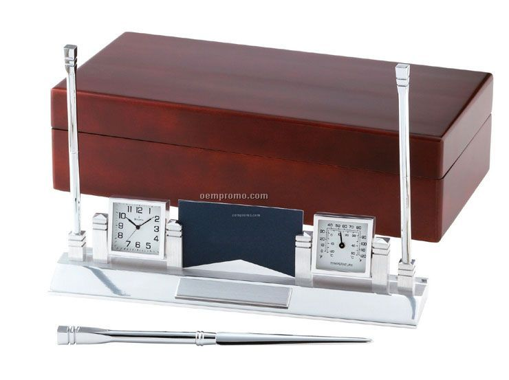 Apex Executive Desk Clock & Thermometer