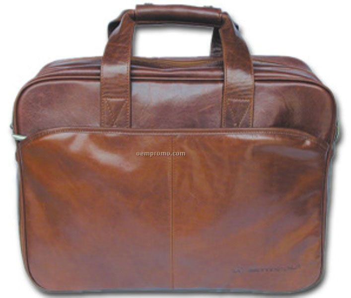 Black Casual Soft Sided Stone Wash Cowhide Briefcase