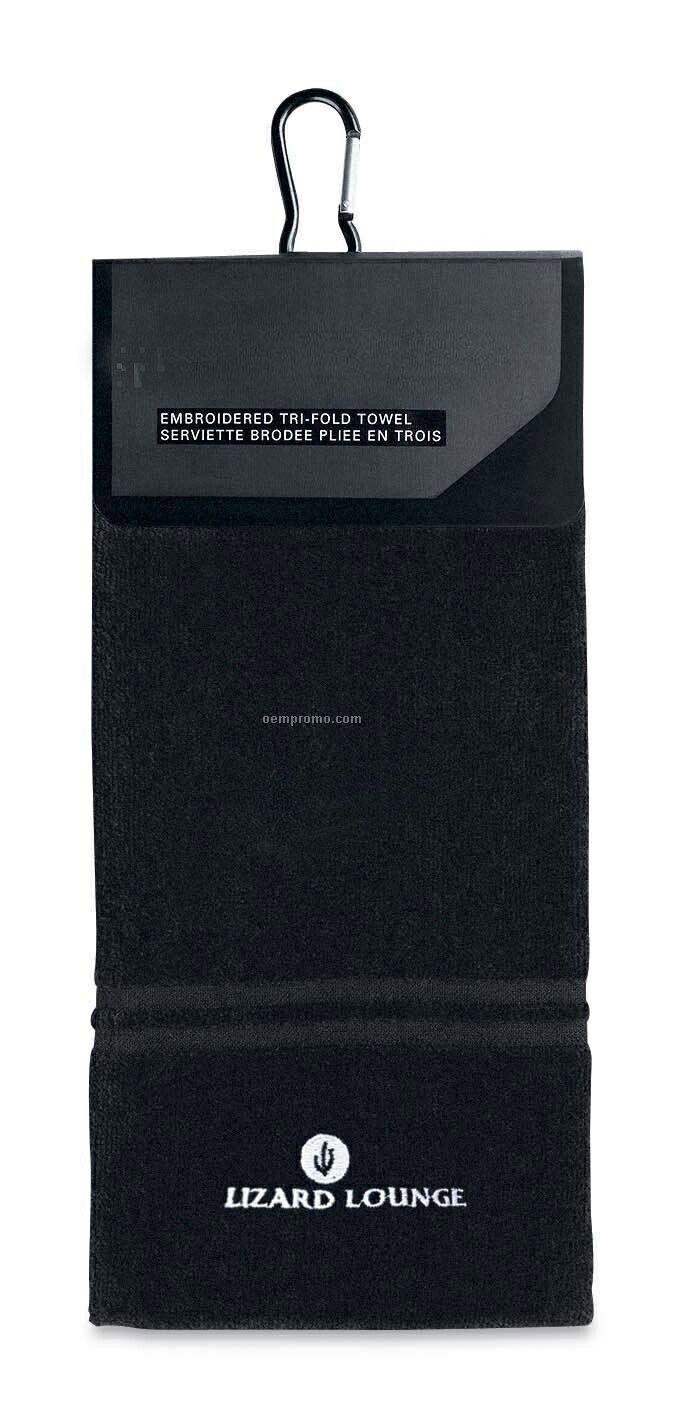 Black Nike Golf Trifold Towel W/ Carabiner