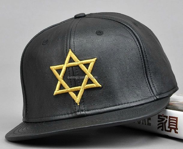 Black PU leather snapback with Star embroidery