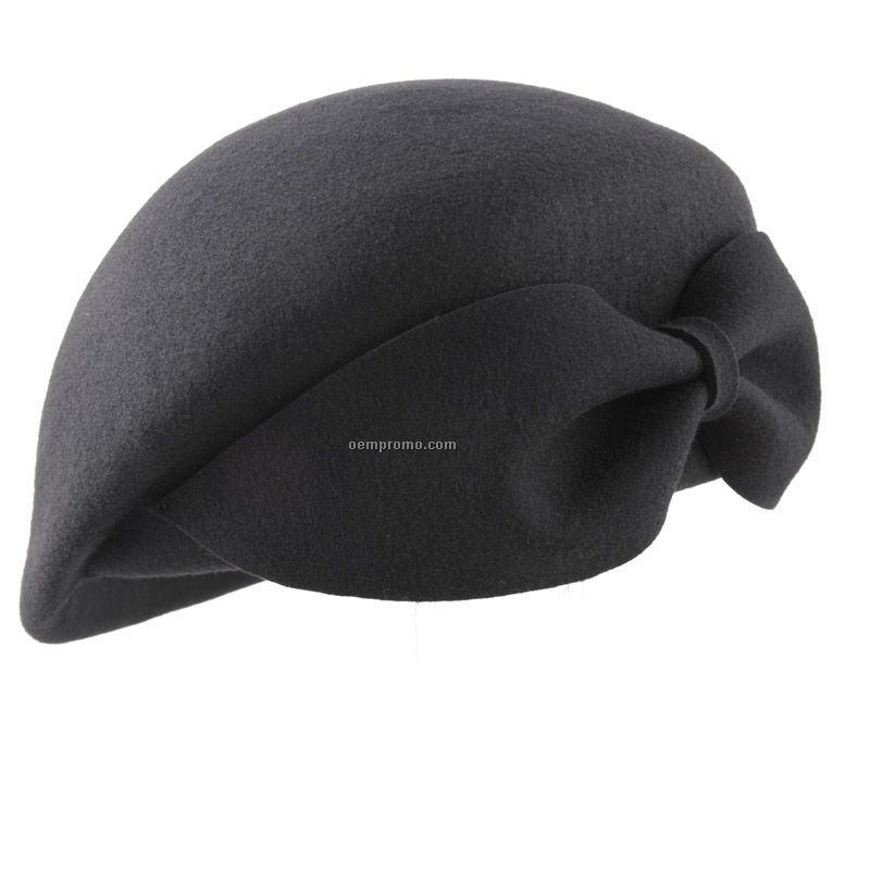 Black fashion beret with bow at back